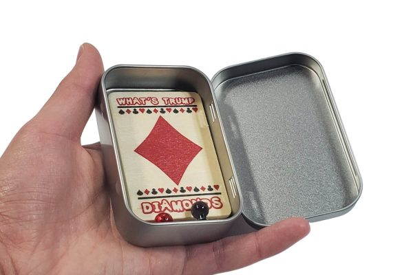 I Heart Euchre Scorekeeper opened tin